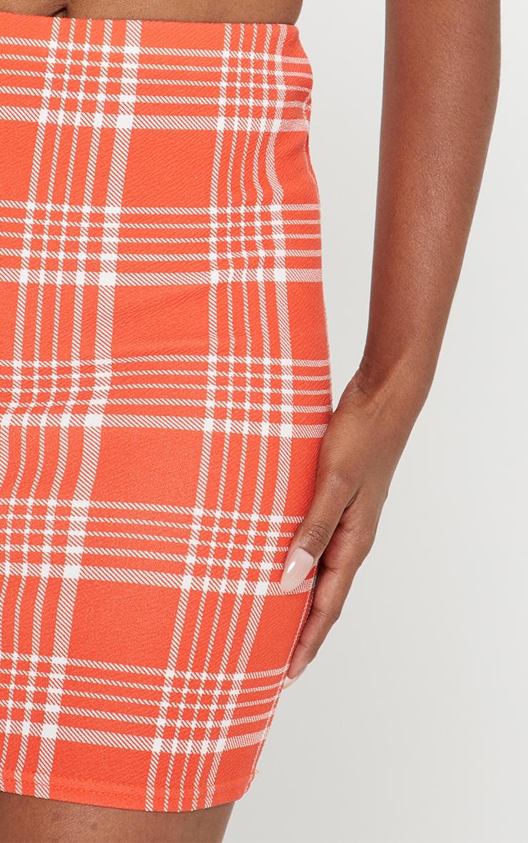 Orange Check Print Mini Skirt  5