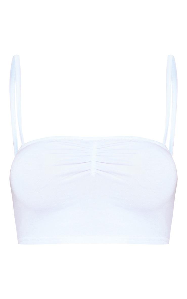 Bralette en jersey blanc froncée à encolure carrée 3