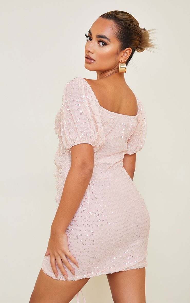 Petite Dusky Pink Sequin Ruched Detail Bodycon Dress 2