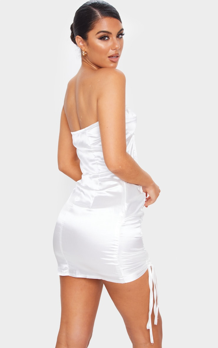 White Satin Bandeau Ruched Side Bodycon Dress 2