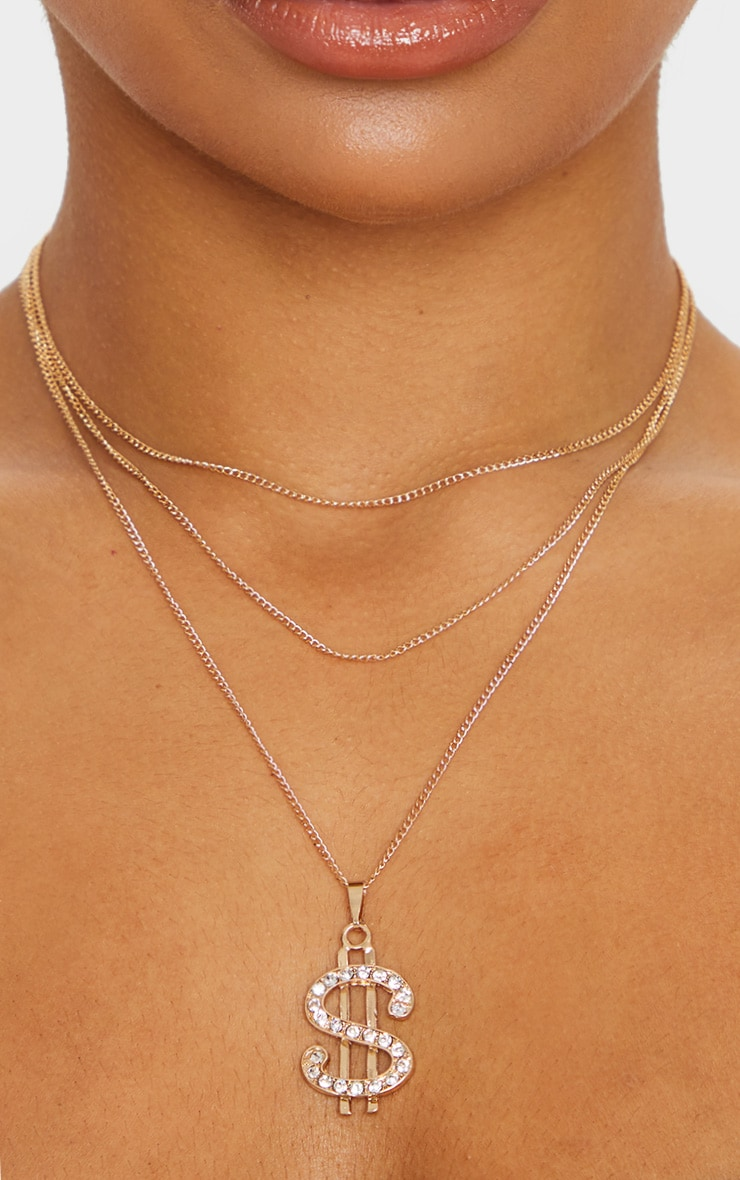 Gold Diamante Dollar Sign Layering Necklace 2