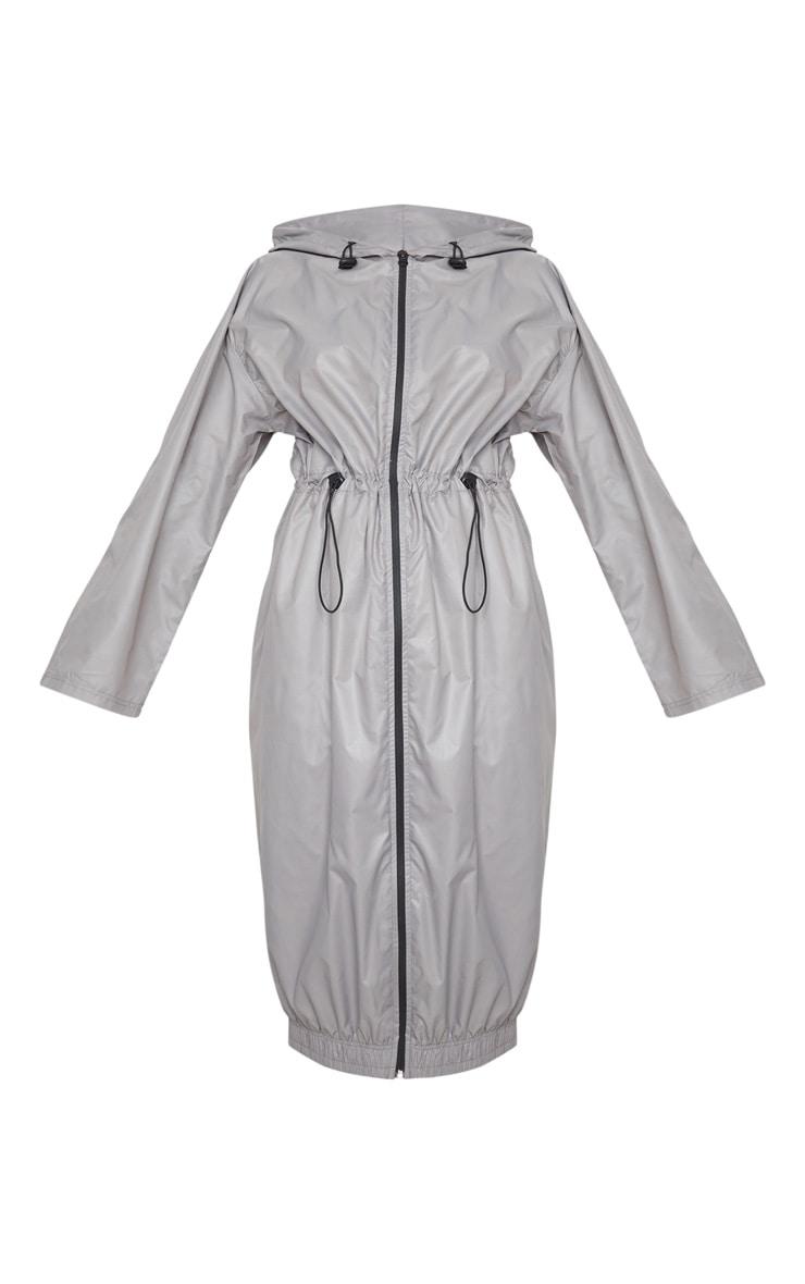 PRETTYLITTLETHING Grey Maxi Hooded Windbreaker 3
