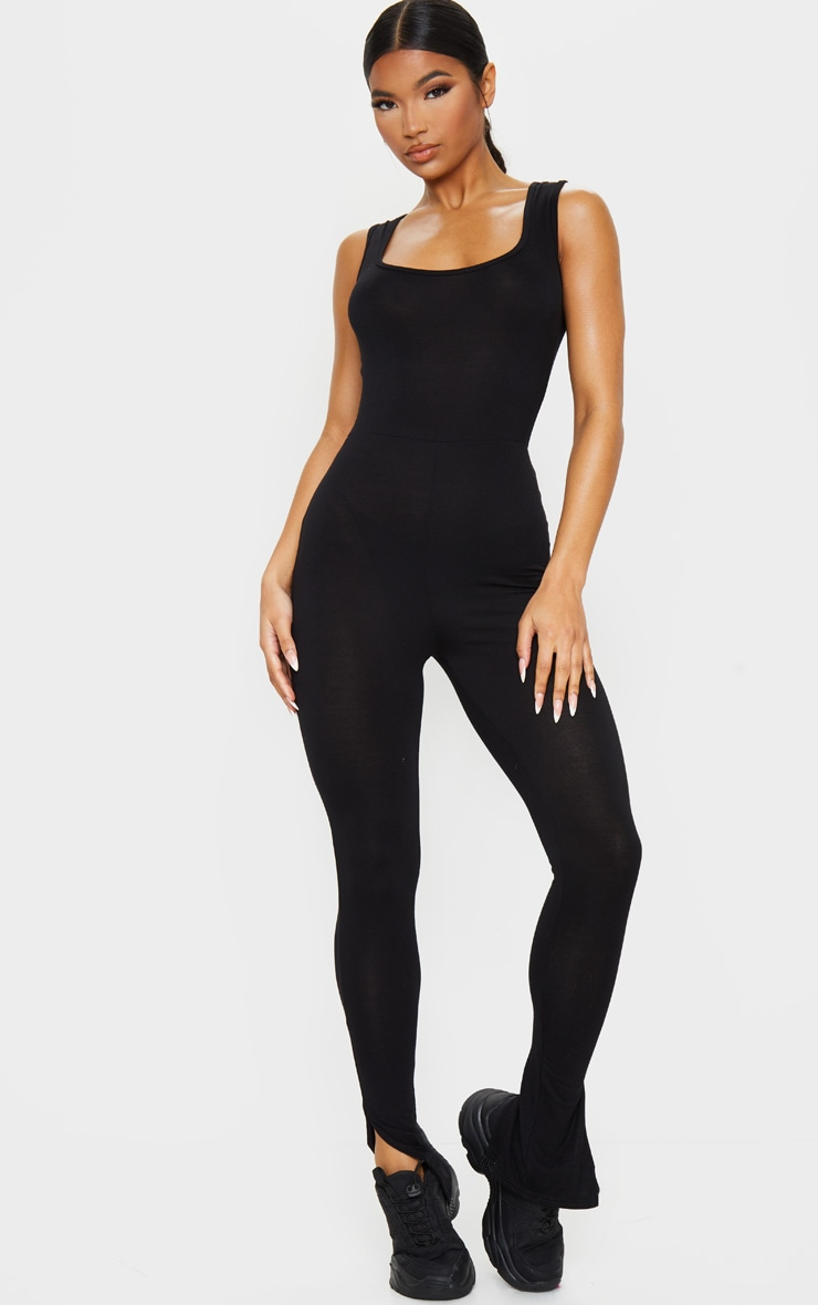 Black Square Neck Split Hem Jersey Jumpsuit 3
