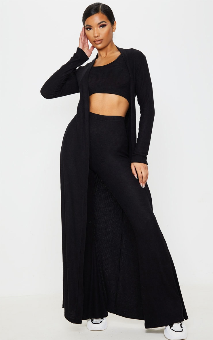 Black Brushed Rib Maxi Cardigan 1