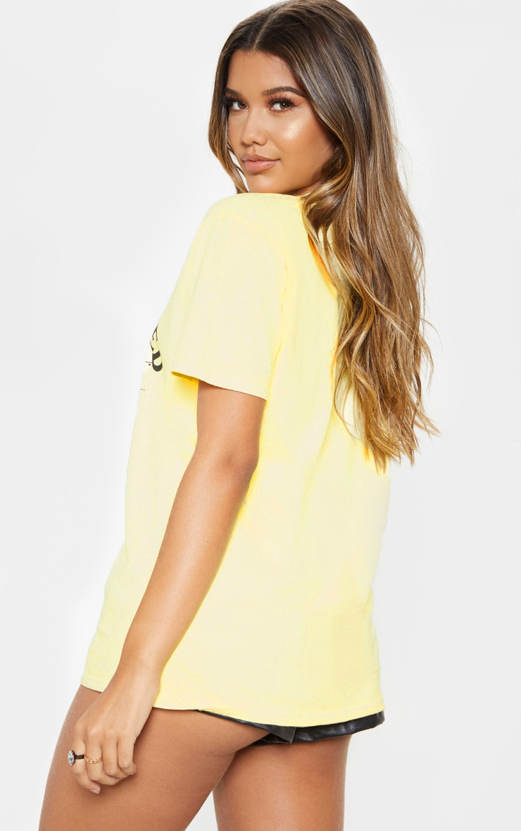 Yellow Star Crossed Oversized Slogan Fitted T Shirt 2