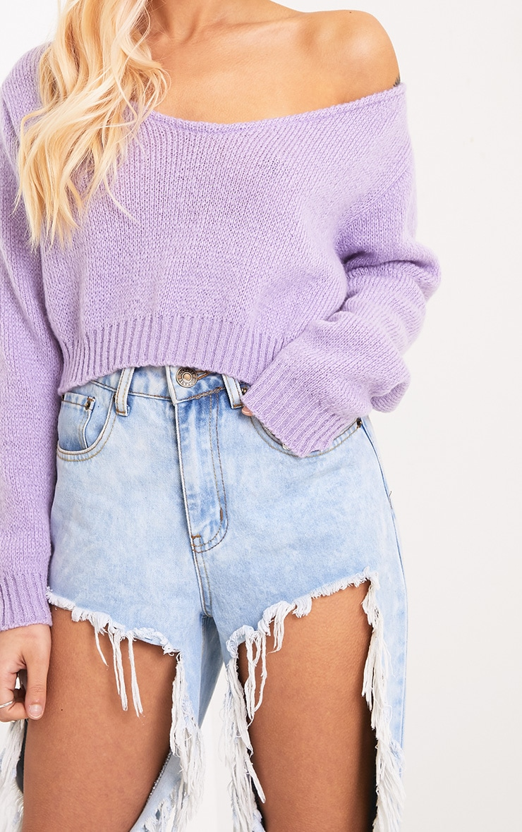 Adelaida Lilac Off Shoulder Knitted Crop Jumper 5