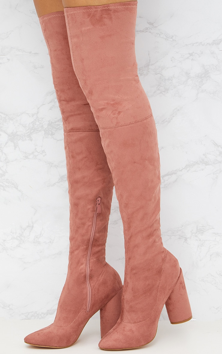 Blush Faux Suede Thigh High Round Heeled Boots  1