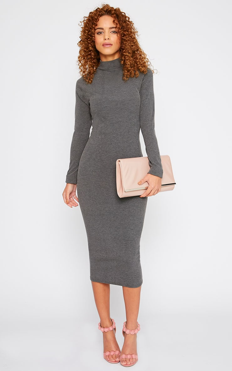 Basic Charcoal Ribbed Turtle Neck Midi Dress 4