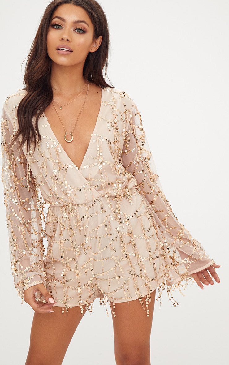 Gold Sequin Wrap Romper by Prettylittlething