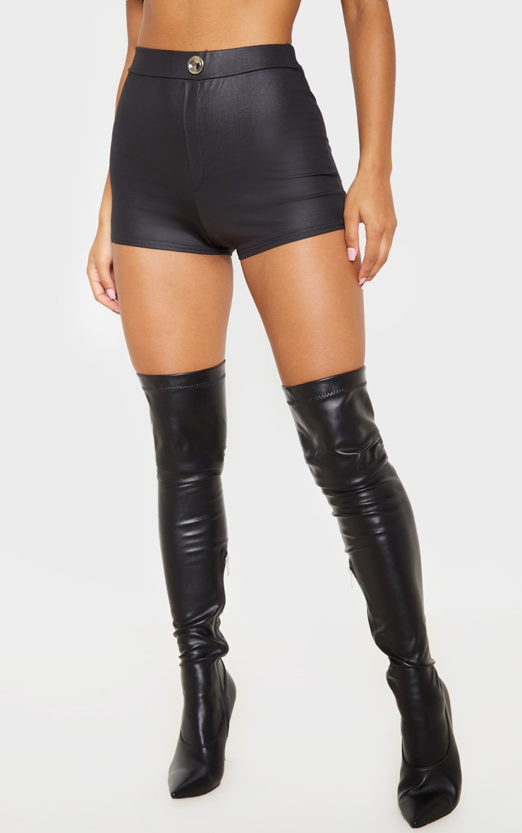 Black Wet Look Button Detail Hot Pants 2