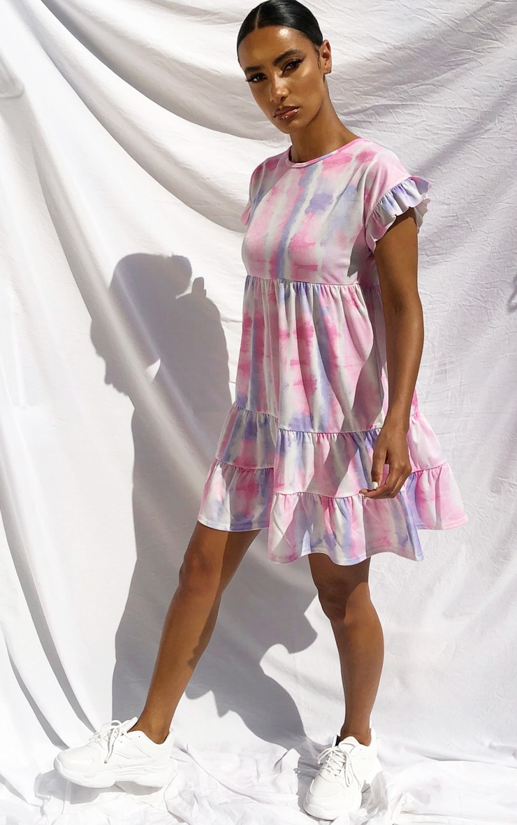 Purple Tie Dye Frill Sleeve Smock Dress 3