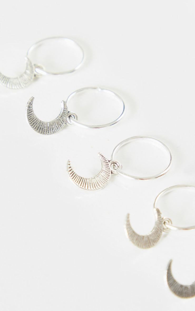 Silver Five Pack Moon Hair Rings 3