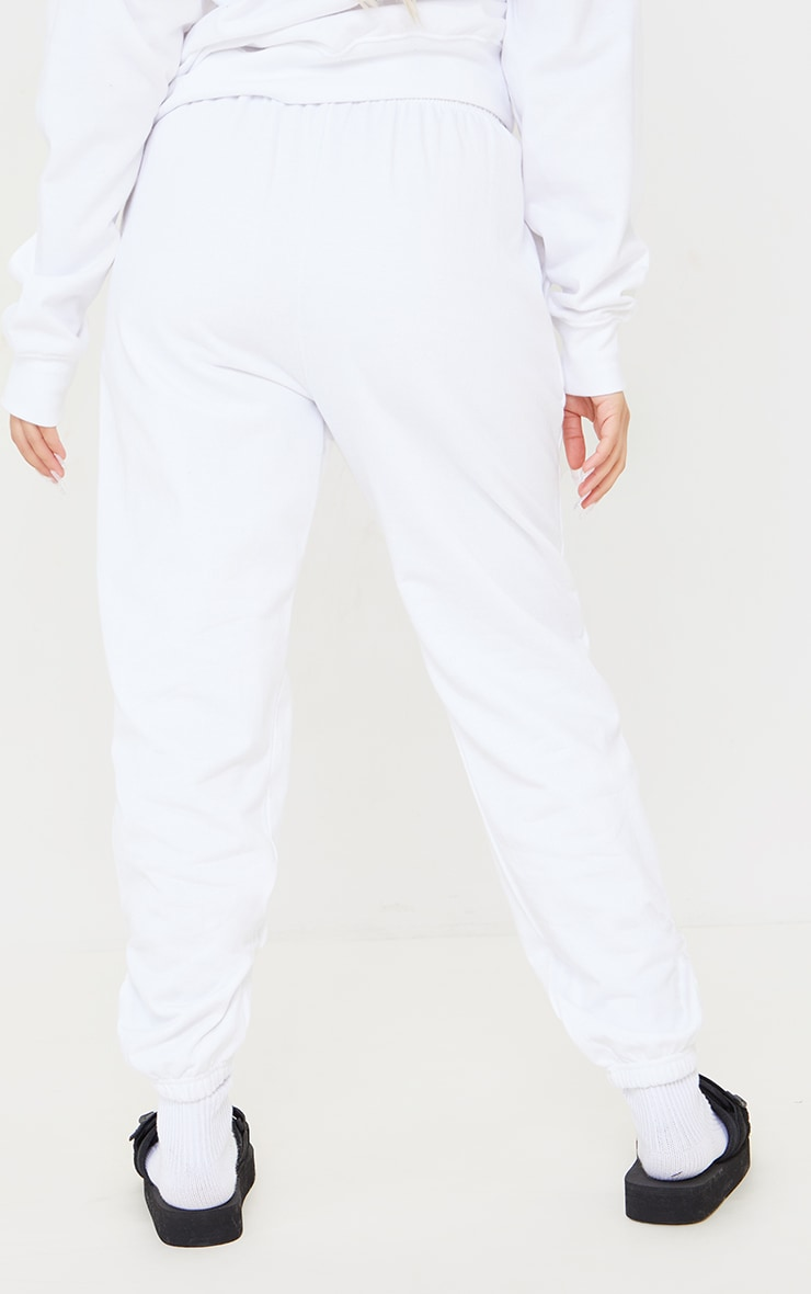 PRETTYLITTLETHING Petite White Tennis Club Oversized Joggers 3