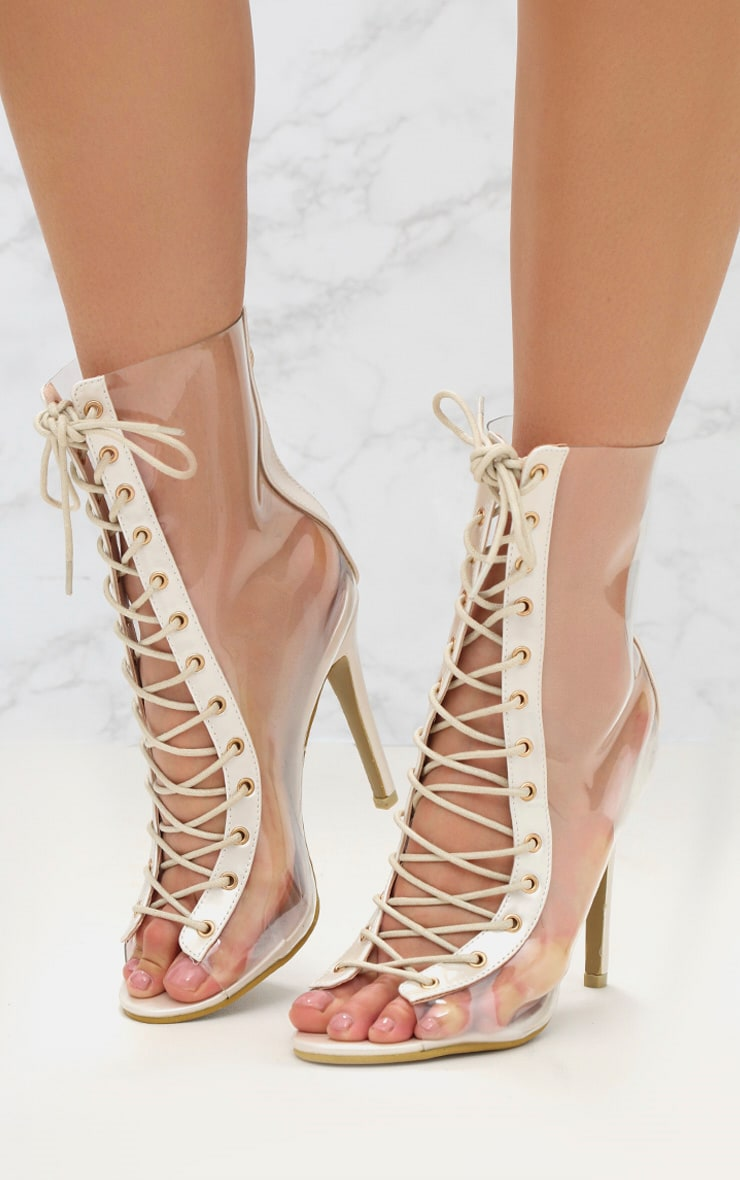 White Lace Up Clear Ankle Boot 2