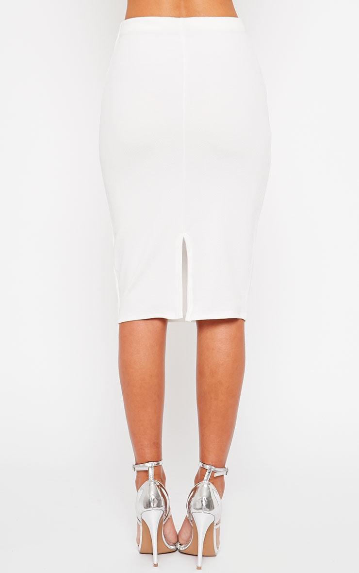 Tess Cream Crepe Midi Skirt 4