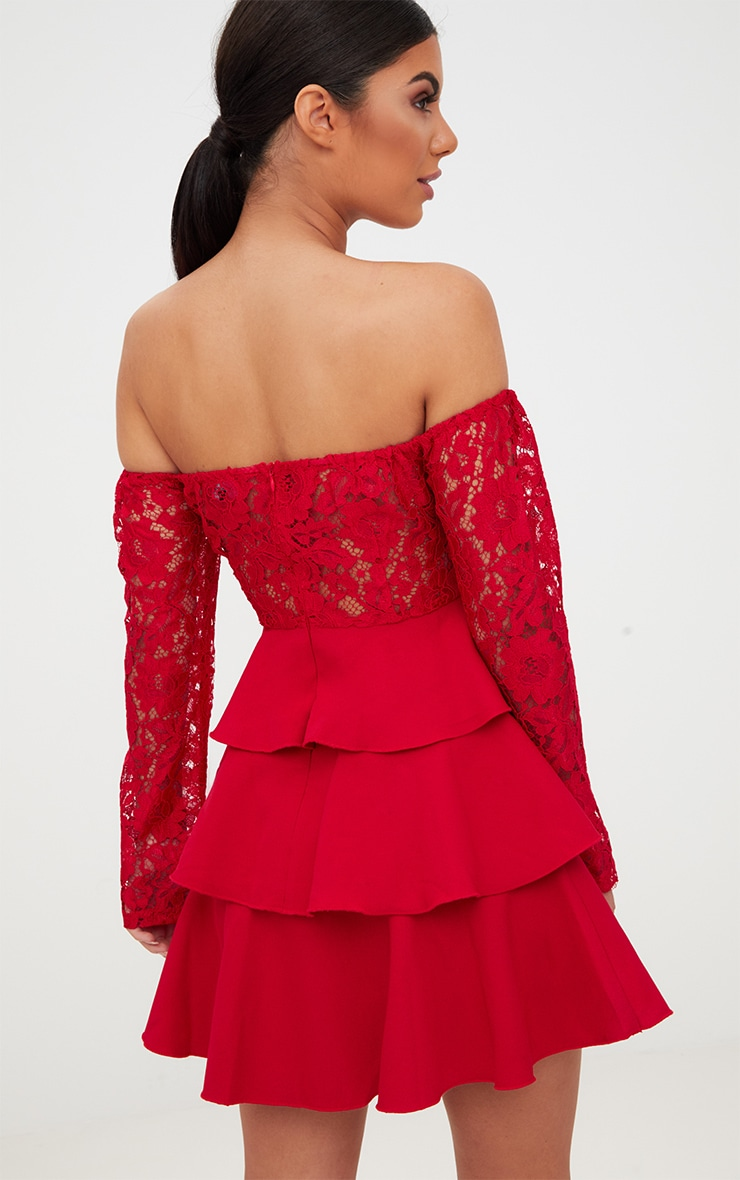 Red Lace Top Frill Detail Skater Dress  2