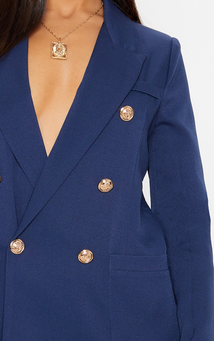 Navy Double Breasted Military Blazer 5