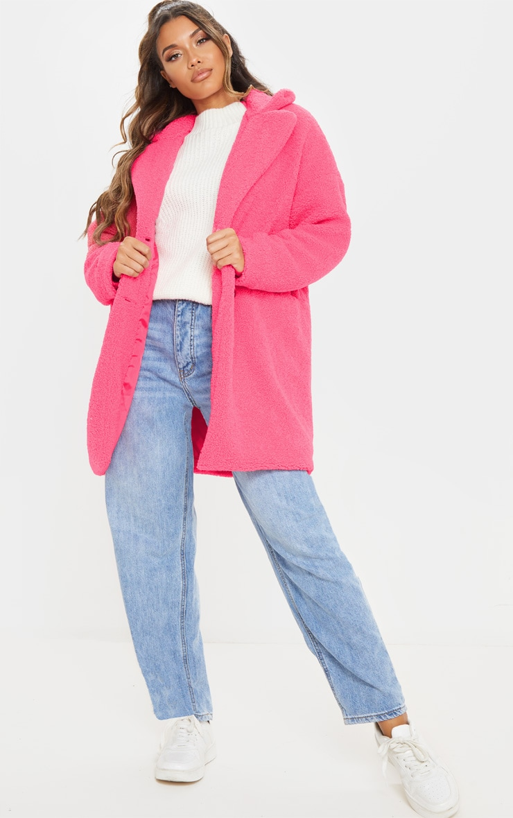 Pink Midi Teddy Borg Coat 1