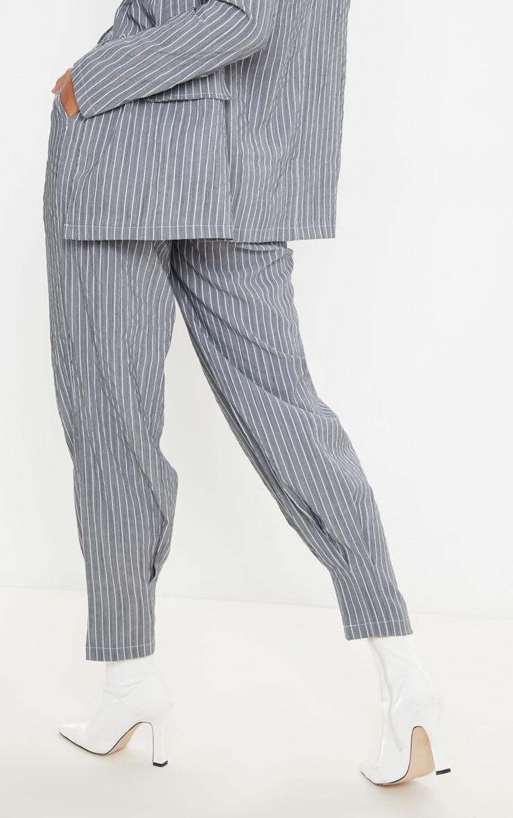 Grey Pinstripe Oversized Cuffed Cigarette Pants 4