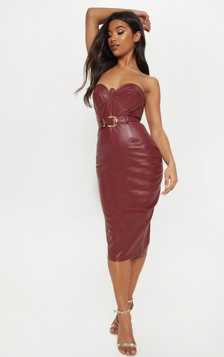 aa30012722 Maroon Faux Leather Belted Midi Dress image 1