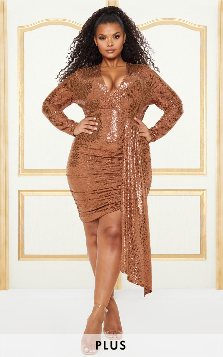 Plus Bronze Sequin Plunge Bodycon Dress 1