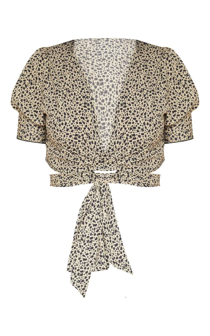 Brown Leopard Print Ring Detail Wrap Blouse 3