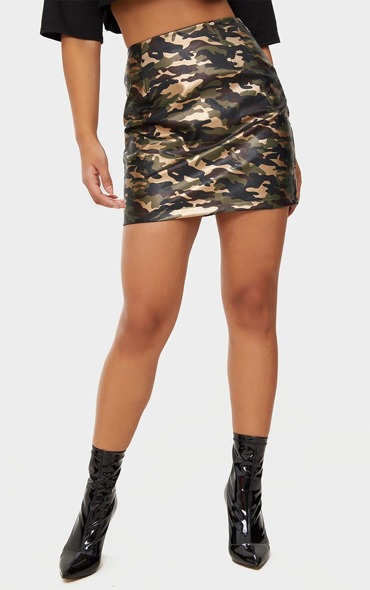 Khaki Faux Leather Camo Print Mini Skirt 2