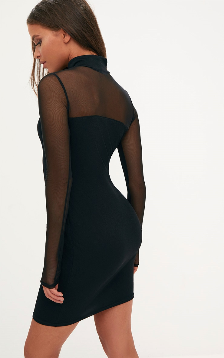 Black High Neck Mesh Panel Bodycon Dress 2