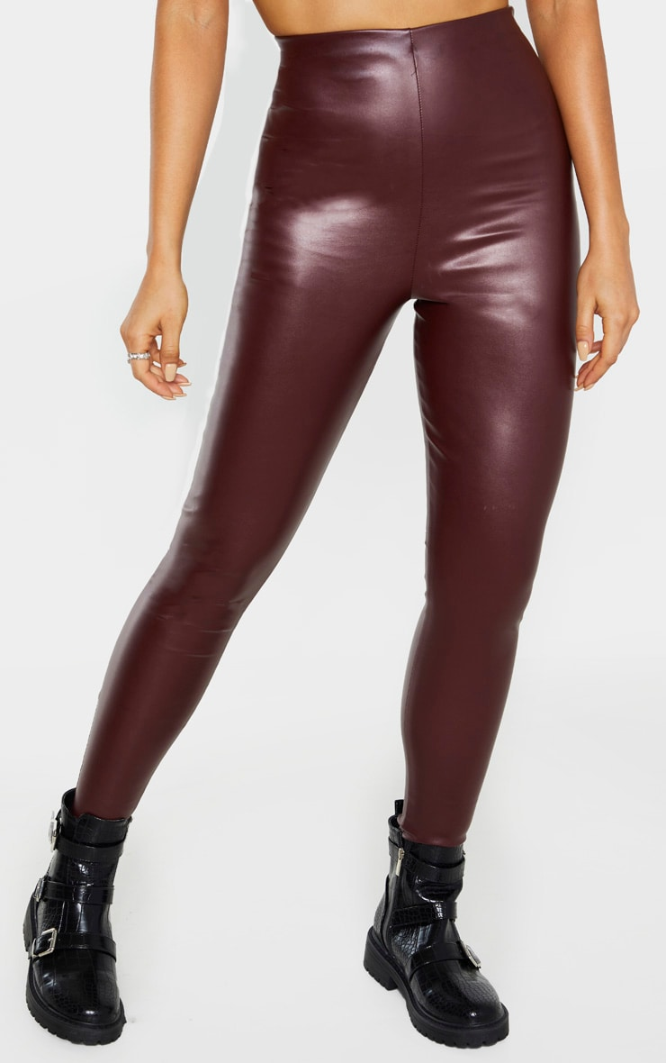 Tall Burgundy Faux Leather High Waisted Legging 3