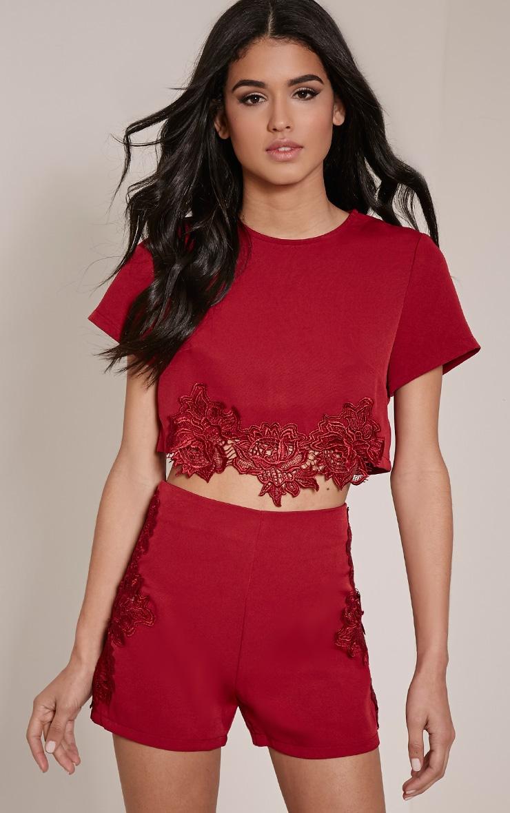 Solane Burgundy Lace Applique Shorts 1