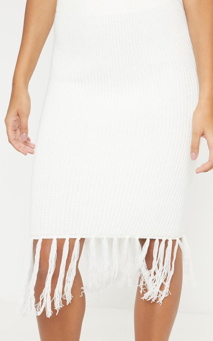 Cream Tassel Hem Knitted Midi Skirt 5