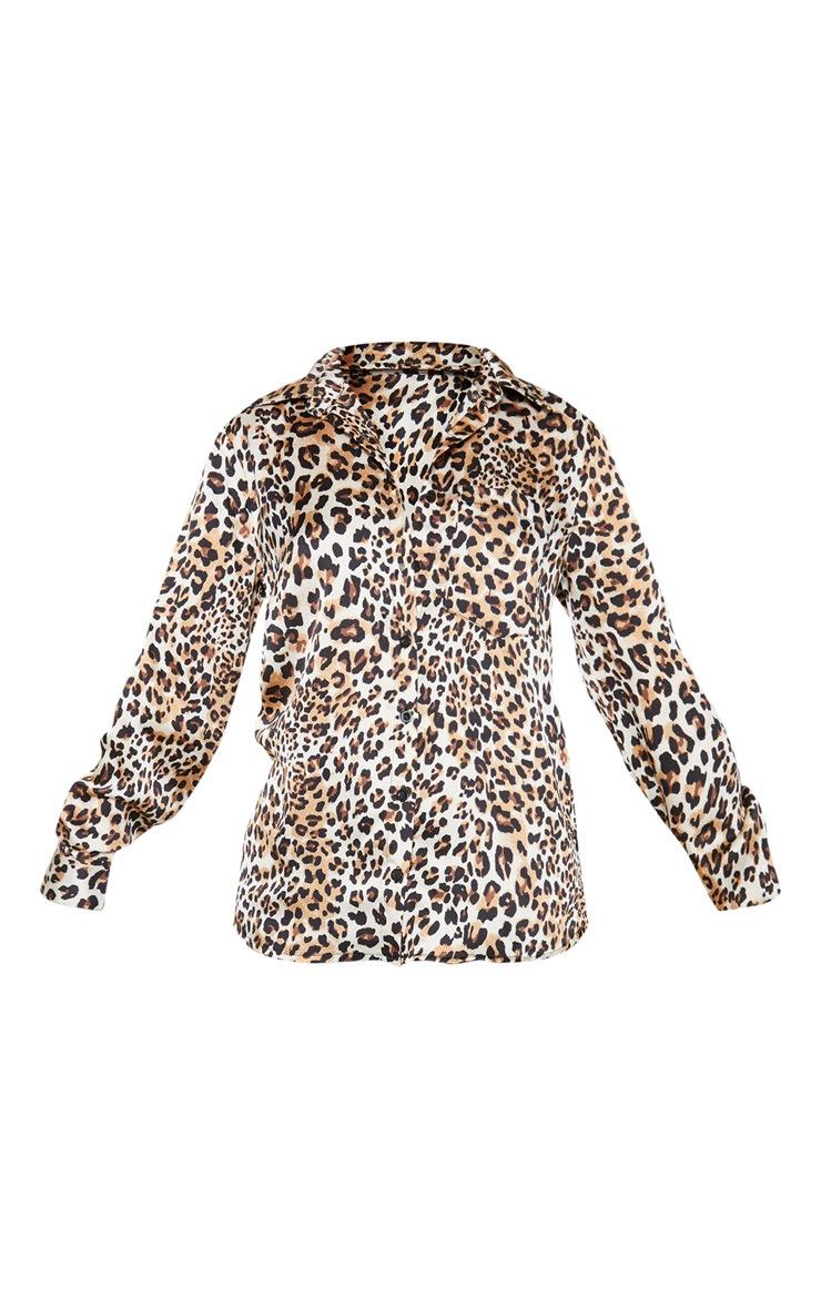 Petite Cream Leopard Print Oversized Pocket Detail Shirt  3