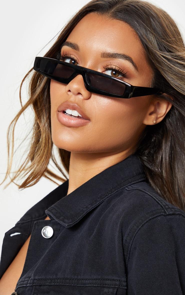 Black Square Squashed Visor Sunglasses 1