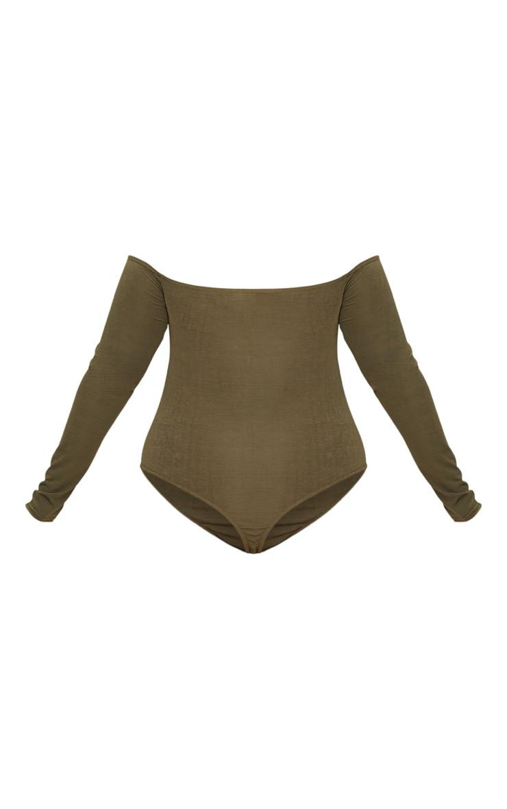 Plus Khaki Slinky Twist Front Bardot Bodysuit 4