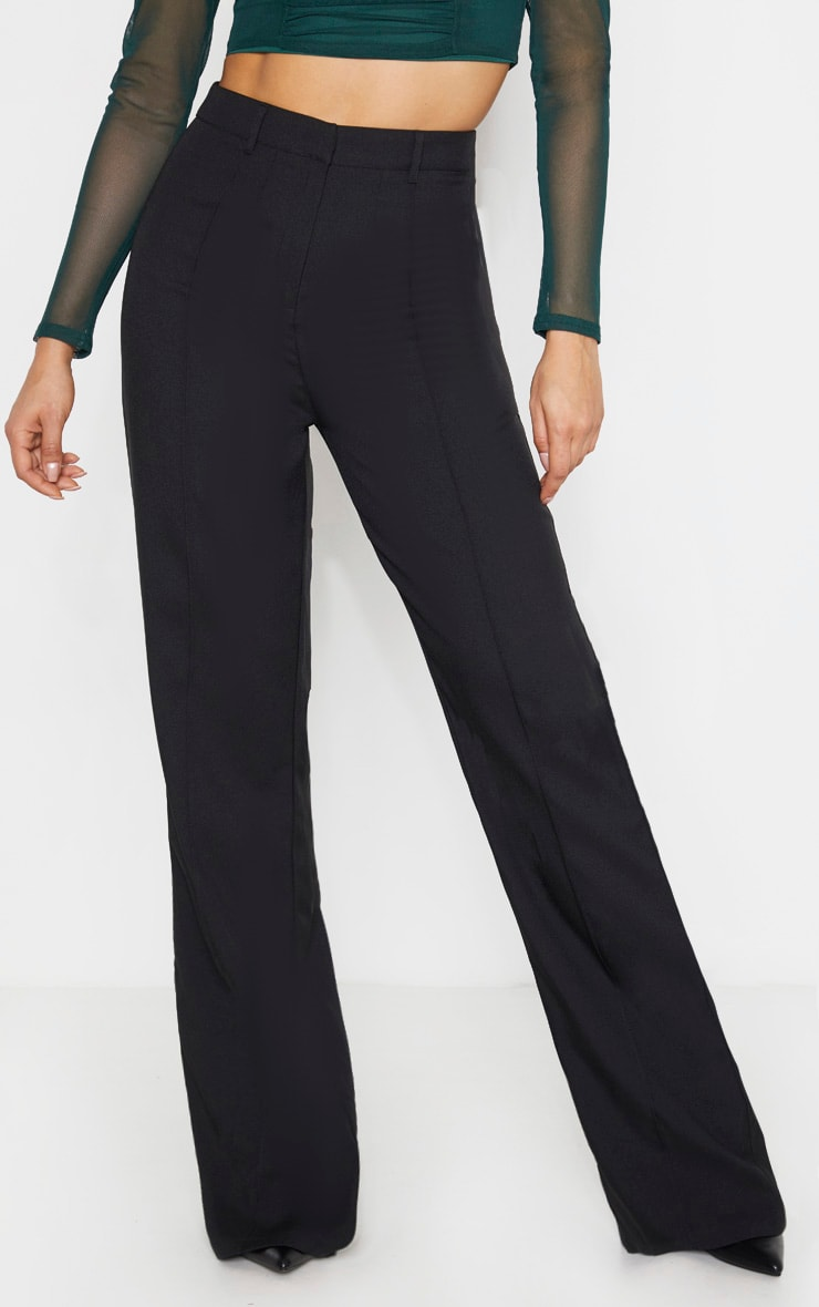 Tall Black High Waisted Straight Leg Pants  2