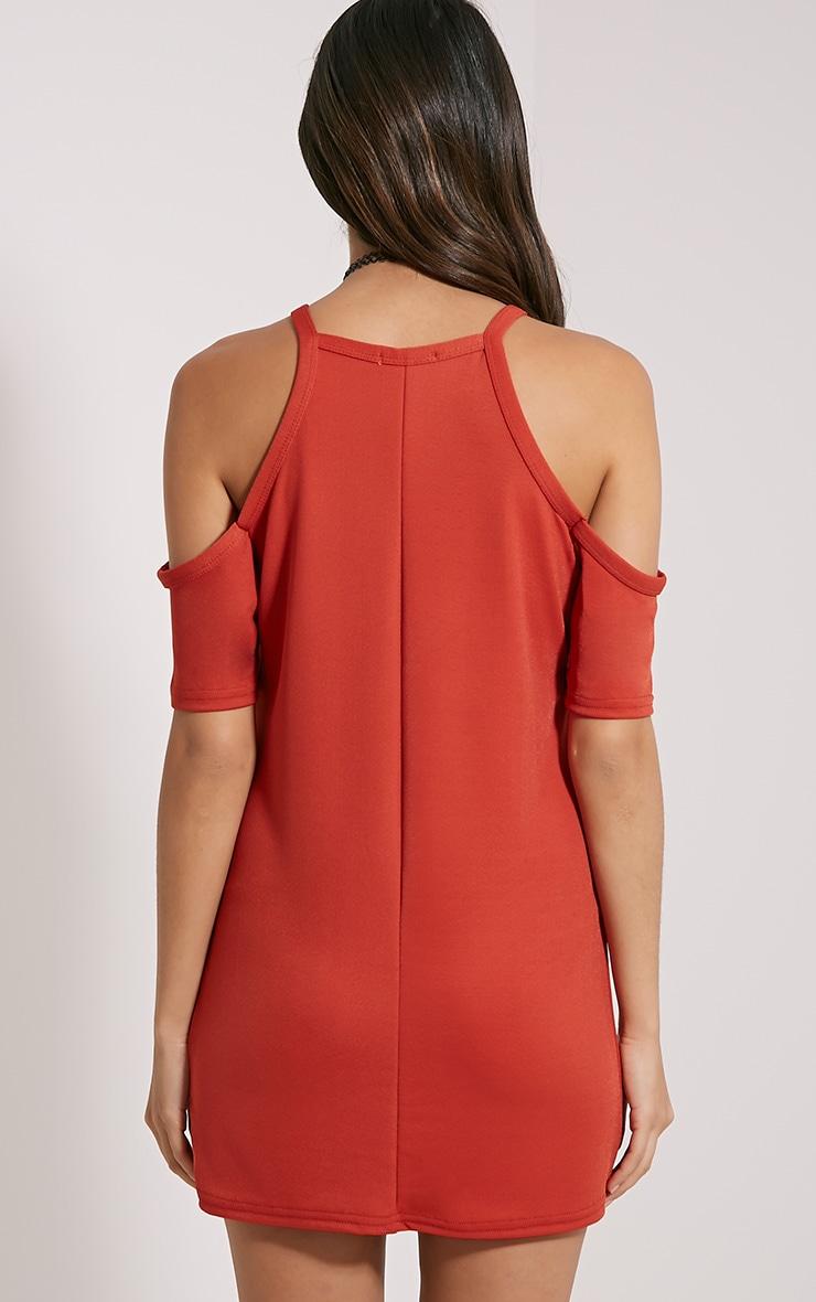 Nola Rust Cut Out Shoulder Dress 2