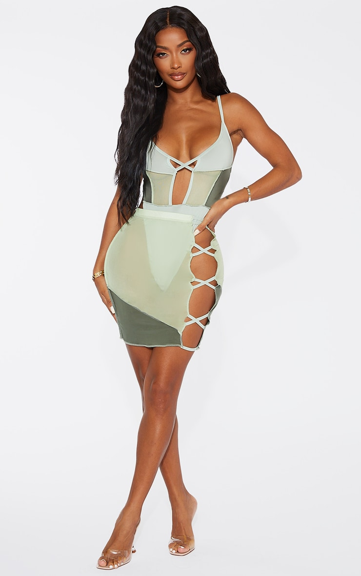 Shape Sage Green Mesh Panel Detail Lace Up Side Bodycon Skirt 1