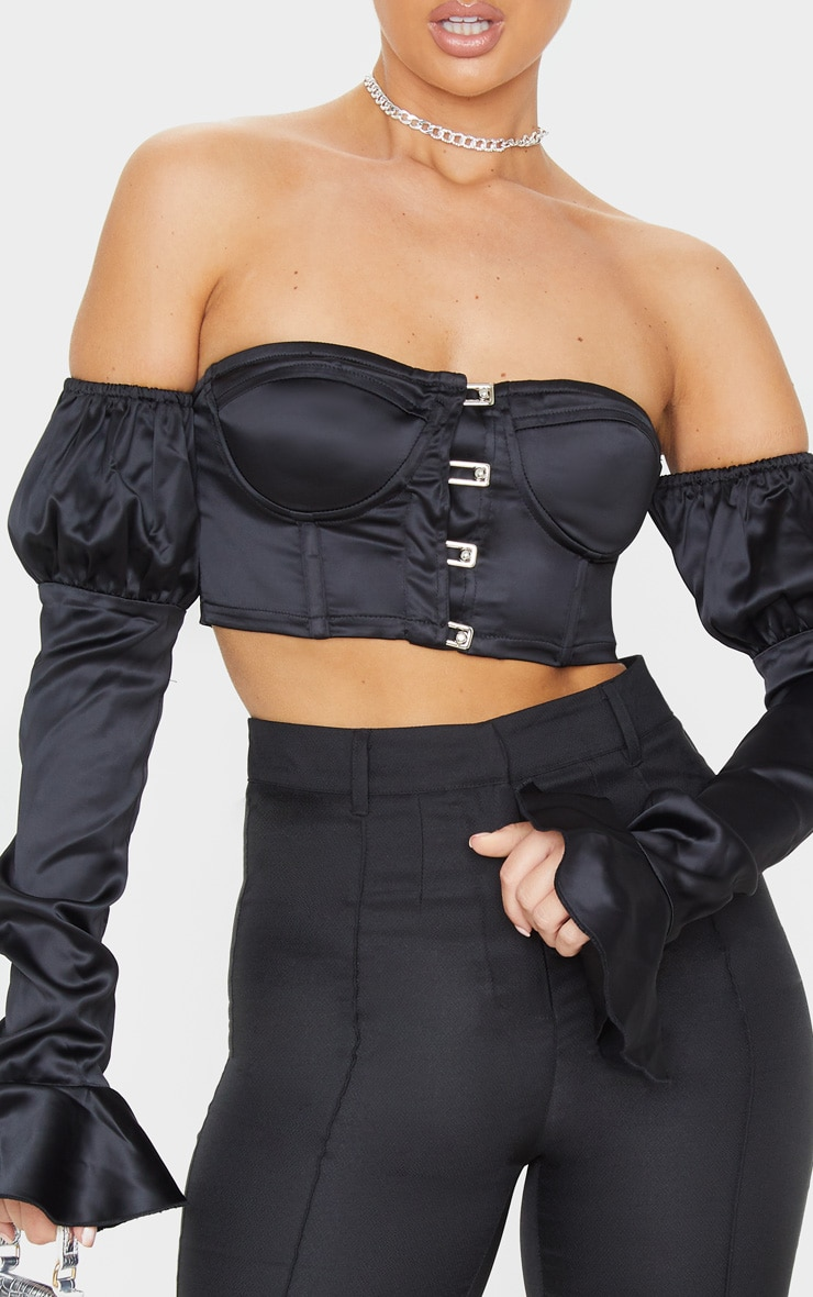 Black Satin Bardot Frill Sleeve Crop Top 5