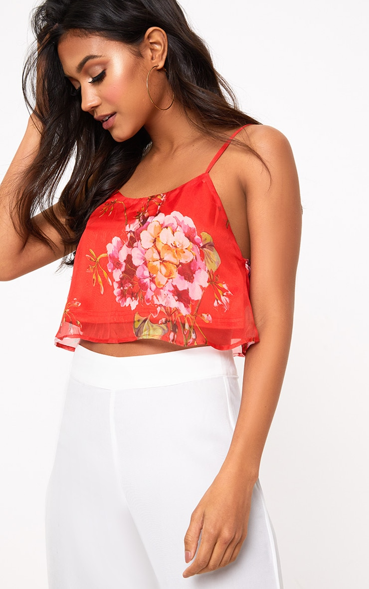 Red Floral Print Soft Cami Crop Top 1