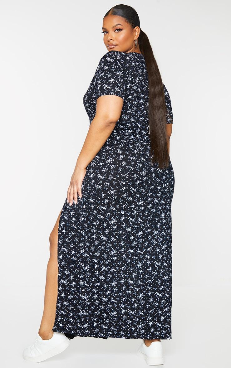 Plus Black Ditsy Floral Split Detail Maxi Dress 2