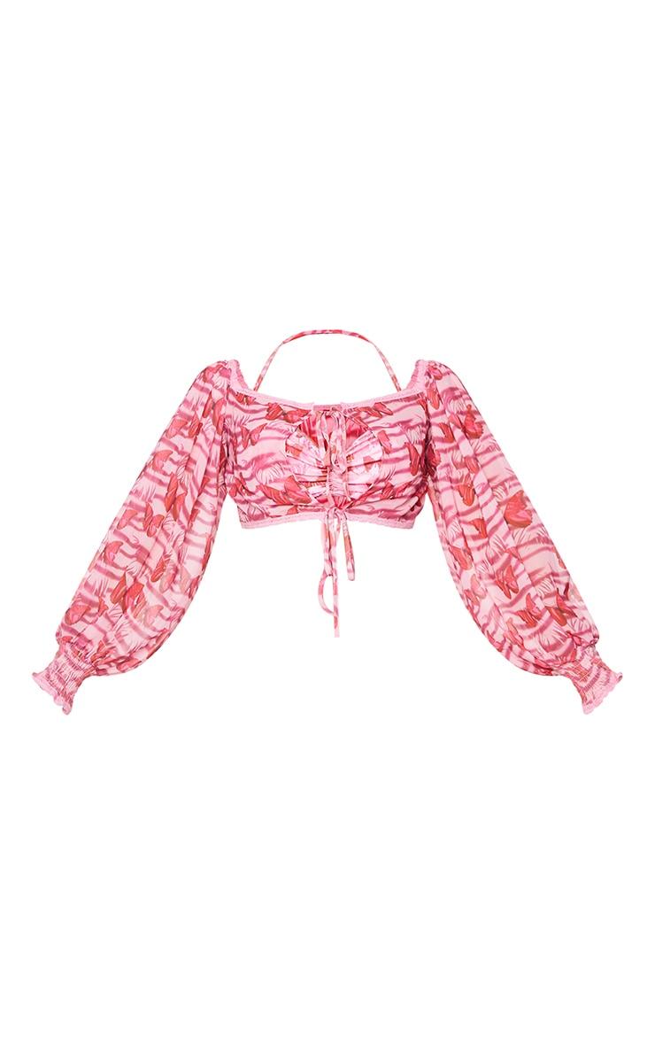 Pink Ditsy Butterfly Tie Front Crochet Trim Chiffon Beach Top 5
