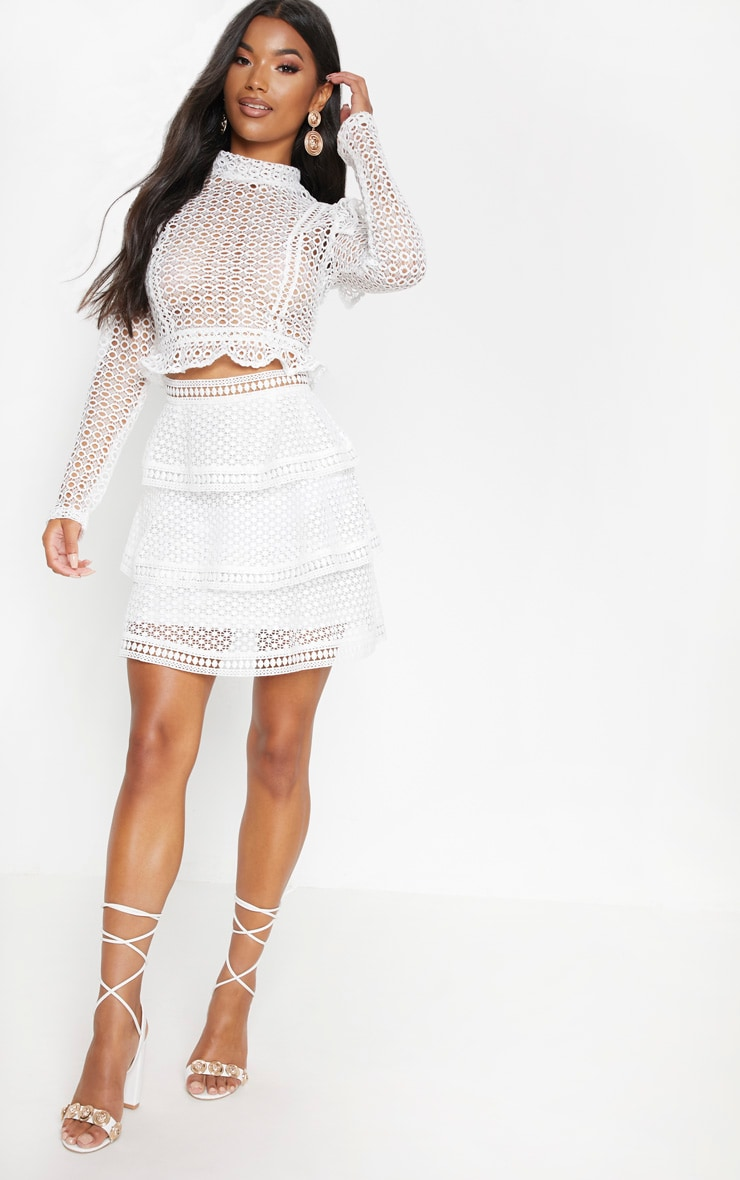 White Crochet Tiered Frill Mini Skirt 5