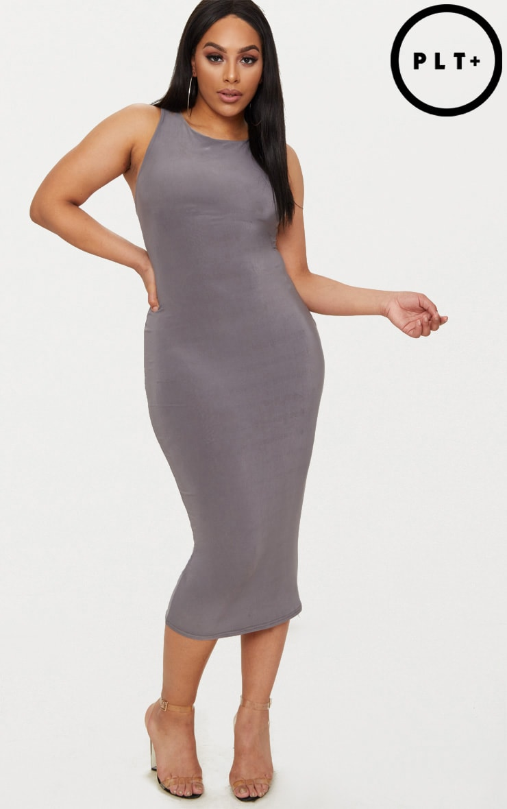 Plus Charcoal Grey Second Skin Slinky Racer Neck Midaxi Dress 1