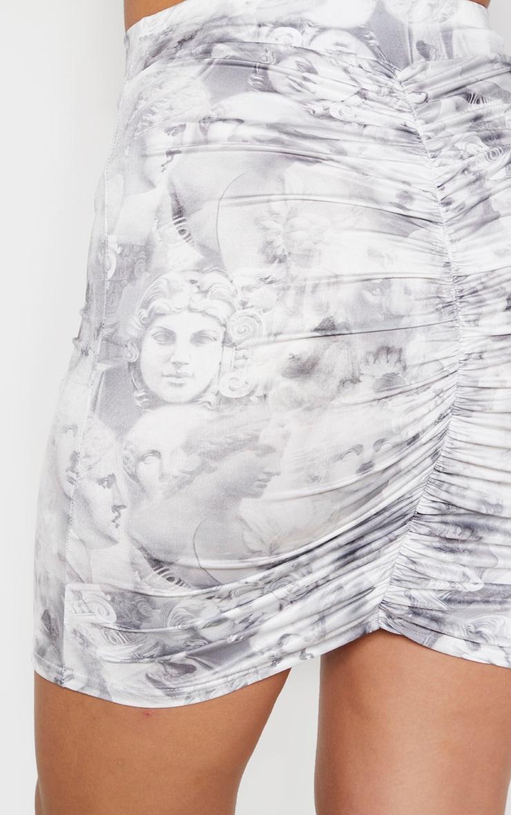 Cream Slinky Cupid Renaissance Print Mini Skirt  5