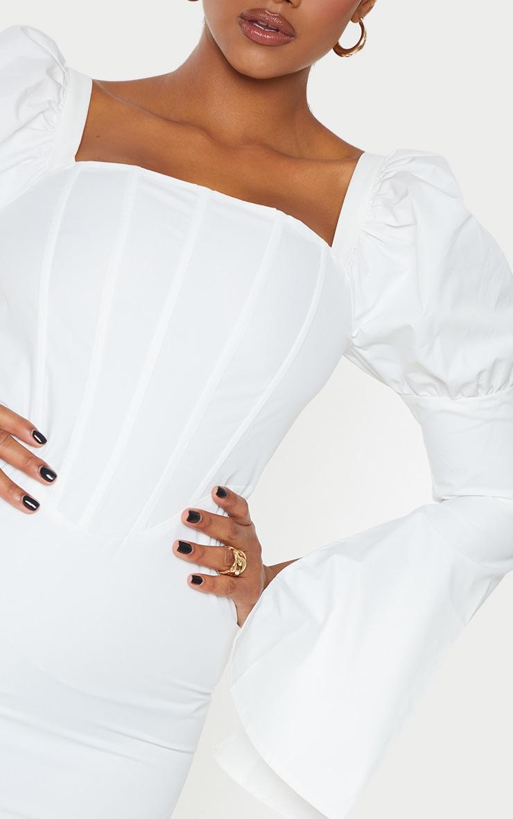 White Bell Sleeve Corset Detail Long Sleeve Bodycon Dress 4