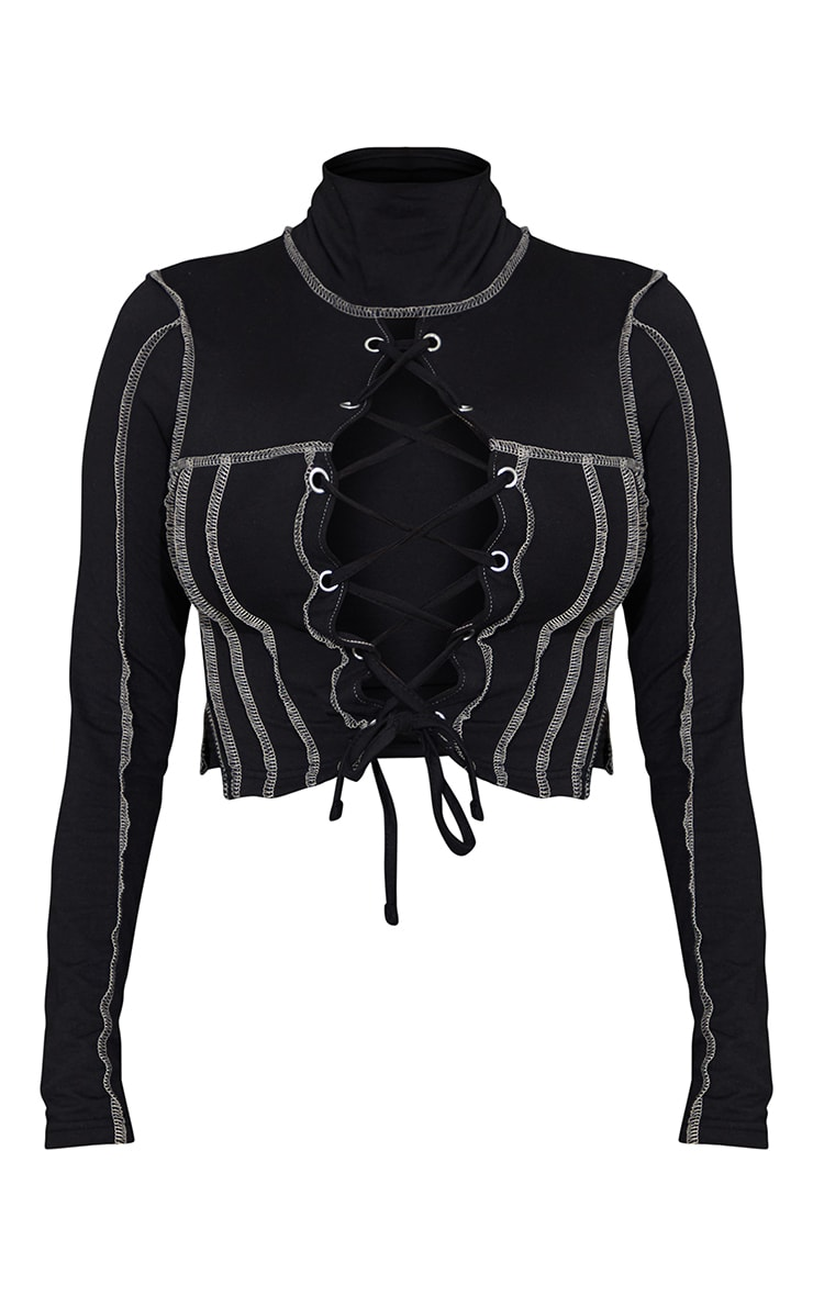Shape Black High Neck Overlock Stitch Lace Up Top 5