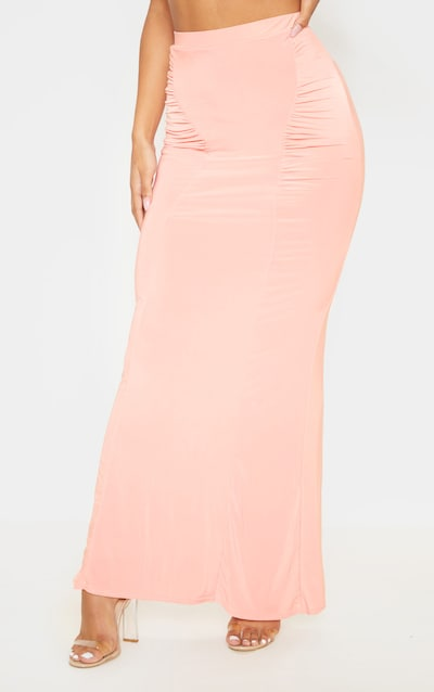 Peach Slinky Ruched Detail Maxi Skirt