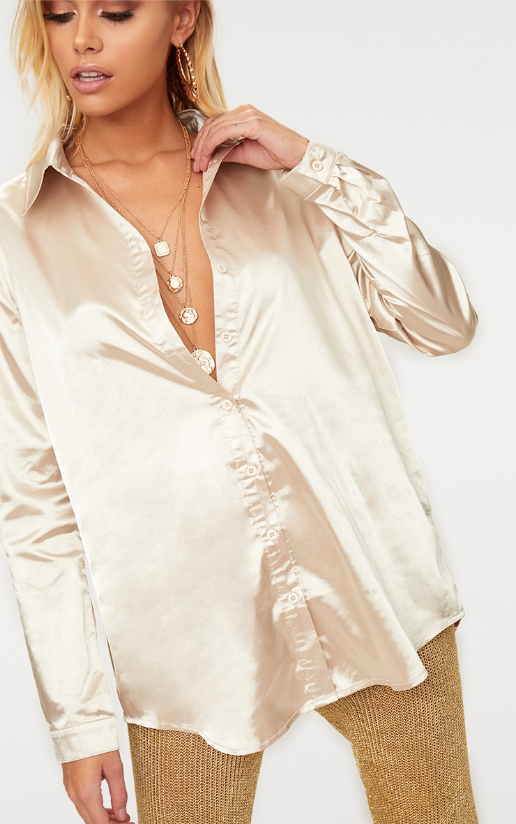 Champagne Satin Button front Shirt  5