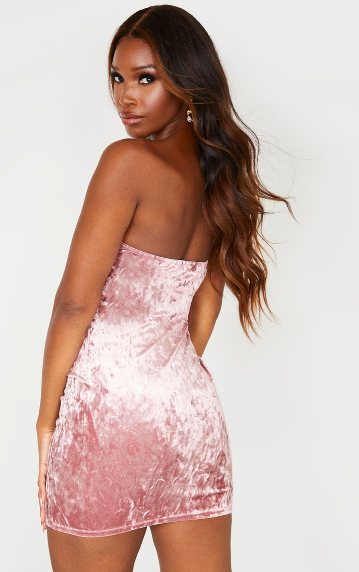 Rose Crushed Velvet Binding Detail Bandeau Bodycon Dress 2