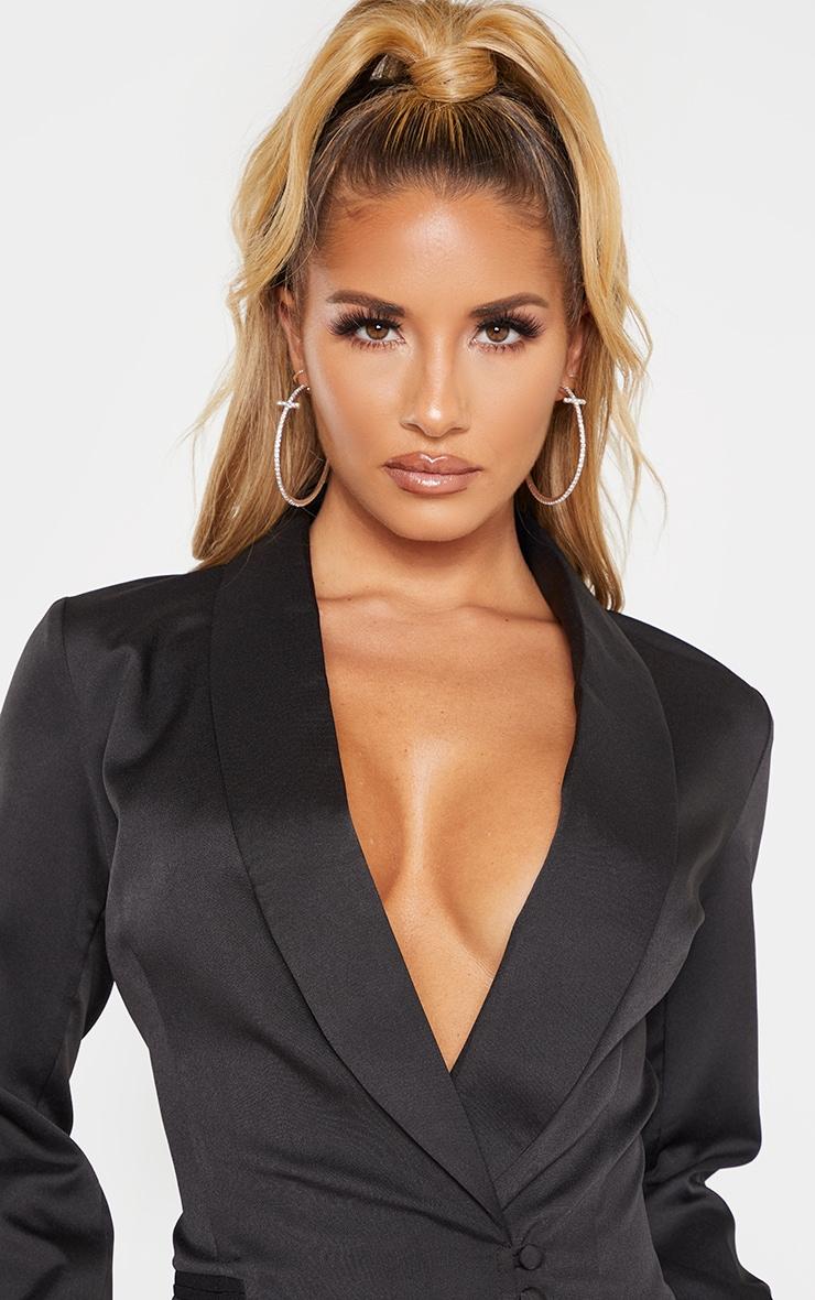 Black Woven Collar Button Detail Blazer  5